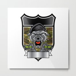 Cougar Panther Mascot Head military emblem Metal Print