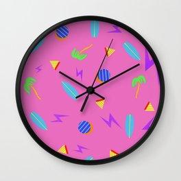Palm Tree Surf Board Pattern Wall Clock
