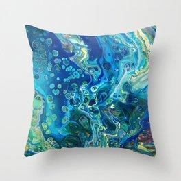 Fluid Nature - Marine Odyssey - Abstract Acrylic Art Throw Pillow