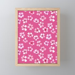 Loose pink flowers in hot pink background Framed Mini Art Print