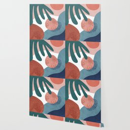Tropical terrazzo ocher turquoise blue Wallpaper