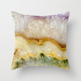 Striated Amethyst in Purple Gold & Green Throw Pillow