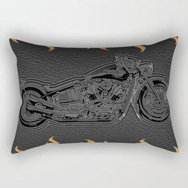 Motorcycle & Orange Flames Rectangular Pillow