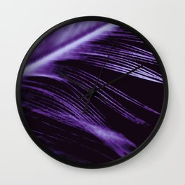 Purple Ultraviolet Feather close up Wall Clock