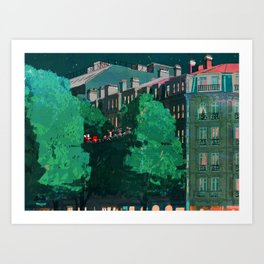 Flying through trees along the street Art Print