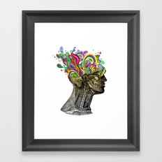Bright neon pink yellow abstract anatomical skull Framed Art Print