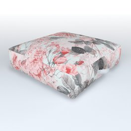 Vintag & Shabby Chic - Living Coral Summer Roses Outdoor Floor Cushion