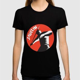 Javelin Throw Track and Field Athlete Circle Woodcut T-shirt