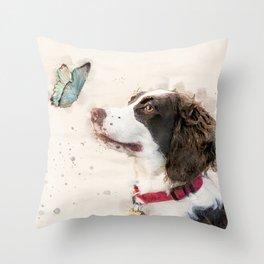 English Springer Spaniel watercolor Throw Pillow