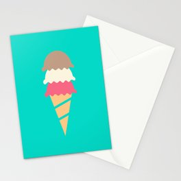 Neopolitan Three Scoop Ice Cream Cone Stationery Cards
