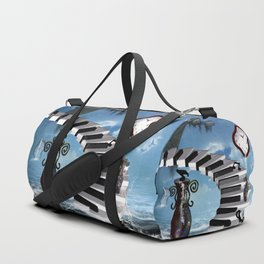 Piano on the beach with clef Duffle Bag