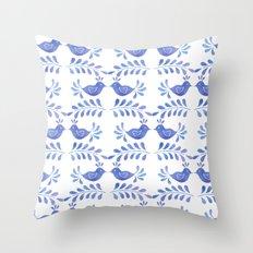 Blue bird floral Throw Pillow