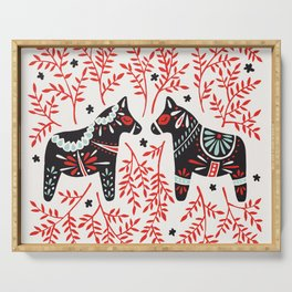 Swedish Dala Horses – Red and Black Palette Serving Tray
