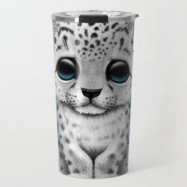 Cute Snow leopard Cub Dj Wearing Headphones on Blue Travel Mug