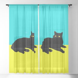 Black Cat on Yellow and Sky Blue Sheer Curtain