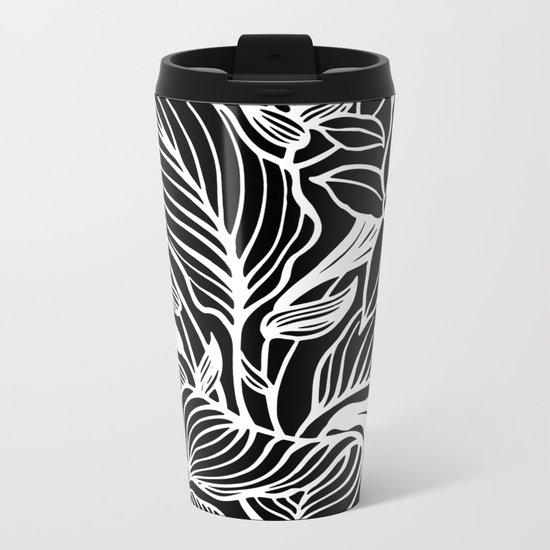 Black White Floral Metal Travel Mug