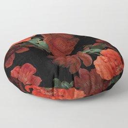 Jan Davidsz. de Heem Vintage Summer Poppies Flowers Dark Night Botanical Garden Floor Pillow