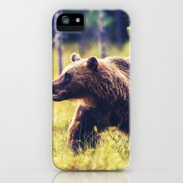Magnificently Amazing Adult Brown Bear Roaming His Forestside Territory Ultra HD iPhone Case