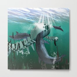 Mechanical fish and dolphins Metal Print