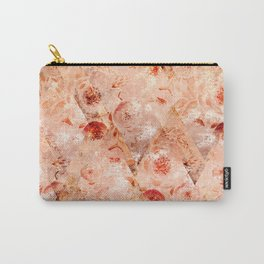 Floral grunge. Orange flowers on a light coral background. Carry-All Pouch