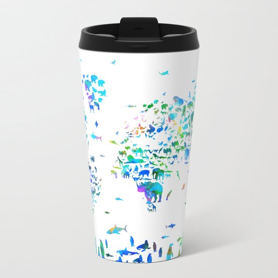 world map animals collage Metal Travel Mug