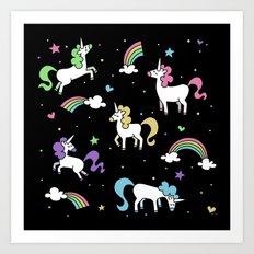 Unicorns and Rainbows - Black Art Print