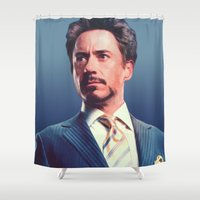 robert downey jr Shower Curtains featuring R. Downey Jr. **** by Hands in the Sky