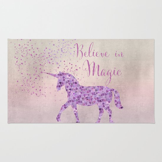 Pink And Purple Glamour Unicorn Believe In Magic Rug By
