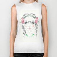frida kahlo Biker Tanks featuring frida kahlo by Lisa Bulpin