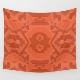 Geometric Aztec in Chile Red Wall Tapestry
