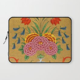 Flower arrangement and scrollwork -Vintage Indian Art Print Laptop Sleeve