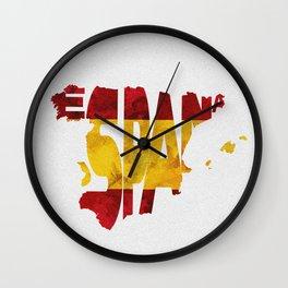 Espana / Spain Typographic Flag / Map Art Wall Clock