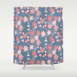 Red-Pink Flower Pattern Shower Curtain