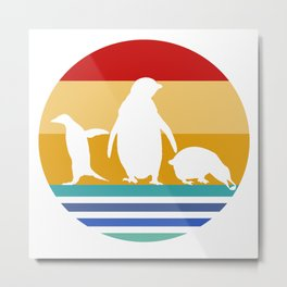 Retro Penguins Metal Print