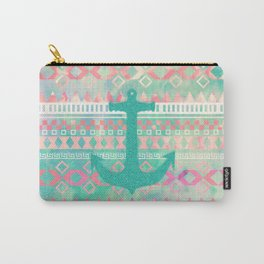 Sailing Aztec | Emerald Nautical Anchor Pastel Watercolor Aztec Carry-All Pouch