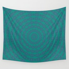 Aurora Radial Kaleidescope In Teal and Aqua Wall Tapestry