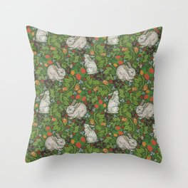 Rabbits with berries and bluebells on green background Throw Pillow