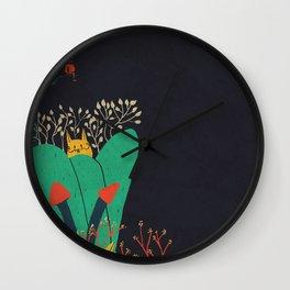 Gato y cactus Wall Clock