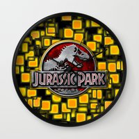 jurassic park Wall Clocks featuring JURASSIC PARK by BeautyArtGalery