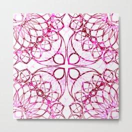 Pink Boho Chic Mandala Pattern Metal Print