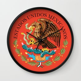 Mexican Flag seal on orange red background Wall Clock