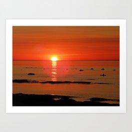 Kayaker and the Setting Sun Art Print