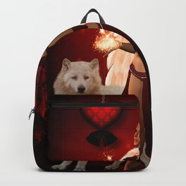 Wonderful fairy with white wolf Backpack