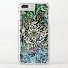 Labyrinth Mandala Blue Green Grey Clear iPhone Case