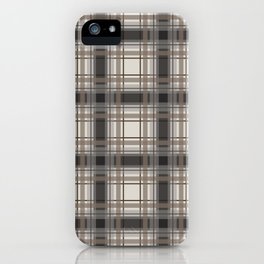 Brown Plaid with tan, cream and gray iPhone Case