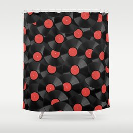 Vinyl Records Pattern (Red) Shower Curtain
