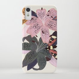 Lilies and butterflies insects iPhone Case