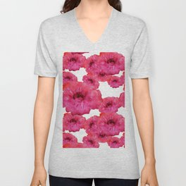 Watercolor Red Flowers Unisex V-Neck