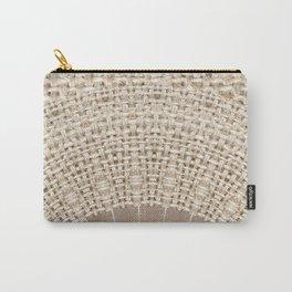 Unique Texture Taupe Burlap Mandala Design Carry-All Pouch