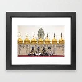 Men golden temple Framed Art Print